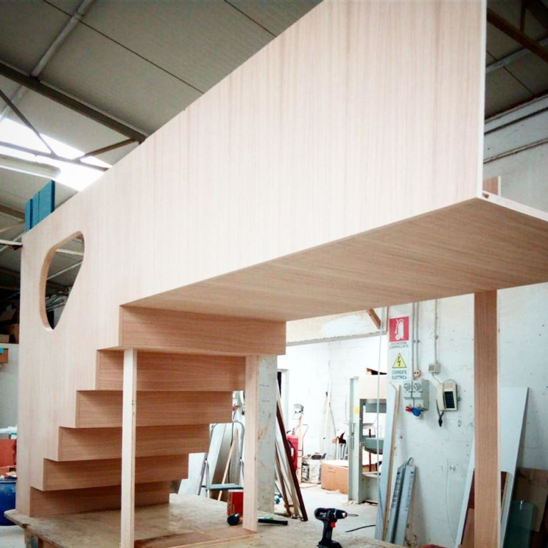 Wooden stairs under construction @ carpenters' workshop....